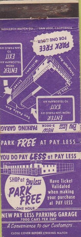 Matchbook Cover - Pay Less Parking Garage Oakland CA