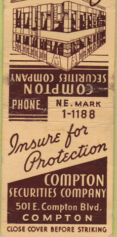 Matchbook Cover - Compton Securities CA WORN insurance