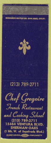 Matchbook Cover - Chef Gregoire French cooking school Sherman Oaks CA SAMPLE