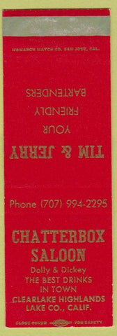 Matchbook Cover - Chatterbox Saloon Lake Co CA Clearlake Highlands SAMPLE