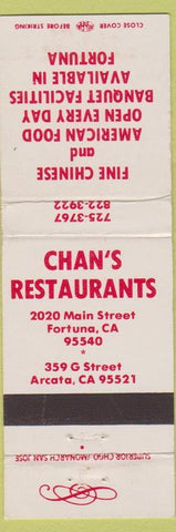 Matchbook Cover - Chan's Restaurants Arcata Fortuna CA