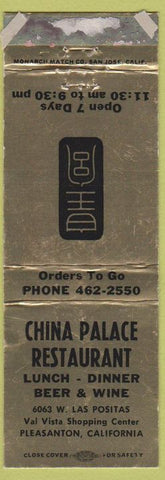 Matchbook Cover - China Palace Restaurant Pleasanton CA WORN