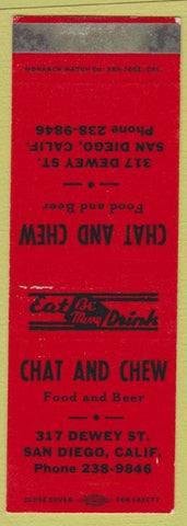 Matchbook Cover - Chat and Chew San Diego CA SAMPLE