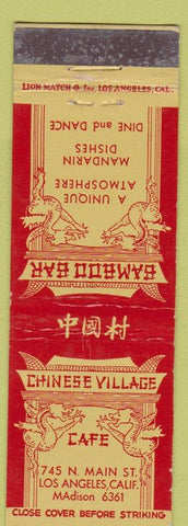 Matchbook Cover - Chinese Village Cafe Los Angeles CA WEAR