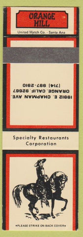 Matchbook Cover - Orange Hill Orange CA