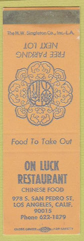 Matchbook Cover - On Luck Restaurant Chinese Los Angeles CA SAMPLE