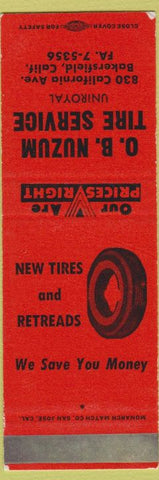 Matchbook Cover - OB Nuzum Uniroyal Tires Bakersfield CA SAMPLE