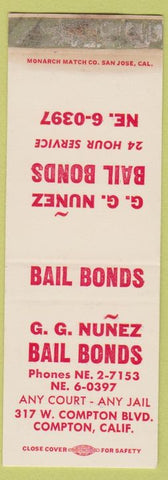 Matchbook Cover - GG Nunez Bail Bonds Compton CA SAMPLE WORN