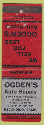 Matchbook Cover - Ogden's Auto Supply Escondido CA WORN