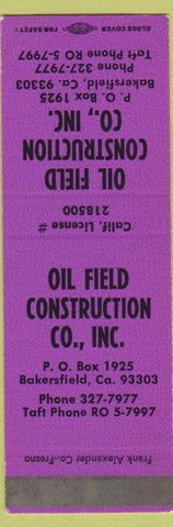 Matchbook Cover - Iol Field Construction Bakersfield CA SAMPLE