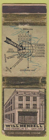 Matchbook Cover - Home Supply Co Oakland CA VERY WORN