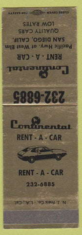 Matchbook Cover - Continental Rental Cars San Diego CA SAMPLE