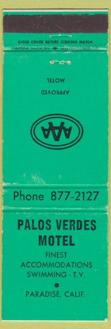 Matchbook Cover - Palos Verdes Motel Paradise CA