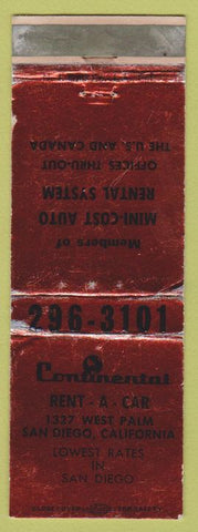 Matchbook Cover - Continental Rental Cars San Diego CA WORN