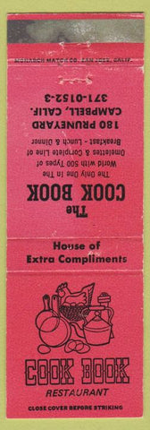 Matchbook Cover - Cook Book Restaurant Campbell CA