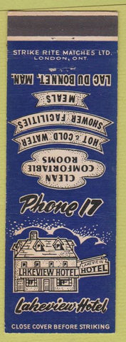 Matchbook Cover - Lakeview Hotel Lac Du Bonnet MB