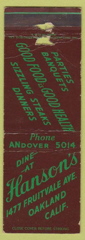 Matchbook Cover - Hanson's Restaurant Oakland CA WORN