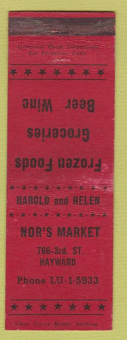 Matchbook Cover - Nor's Market Hawyward CA WEAR
