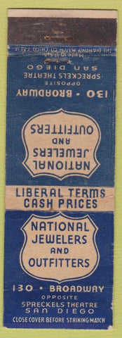 Matchbook Cover - National Jewelers Outfitters San Diego CA WEAR