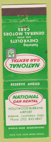 Matchbook Cover - National Car Rental Chevrolets Burbank CA