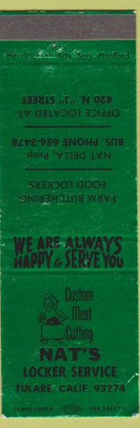 Matchbook Cover - Nat's Locker Service Tulare CA WEAR SAMPLE