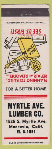 Matchbook Cover - Myrtle Ave Lumber Monrovia CA