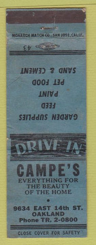 Matchbook Cover - Campe's Garden Supply Feed Oakland CA WORN