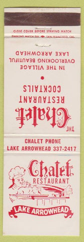 Matchbook Cover - The Chalet Restaurant Lake Arrowhead CA