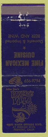 Matchbook Cover - Pancho's Villa Freomont CA Mexican Food WEAR