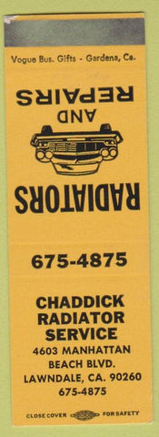 Matchbook Cover - Chaddick Radiator Service Lawndale CA SAMPLE