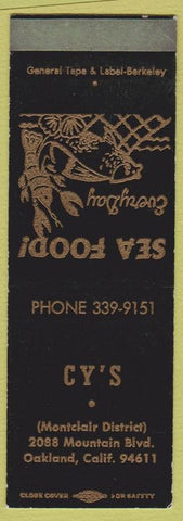 Matchbook Cover - Cy's Oakland CA SAMPLE