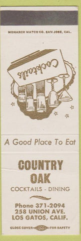 Matchbook Cover - Country Oak Los Gatos CA SAMPLE
