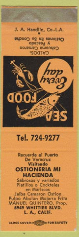 Matchbook Cover - Ostioneria Mi Hacienda Los Angeles CA SAMPLE