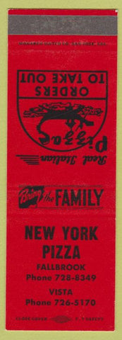 Matchbook Cover - New York Pizza Vista Fallbrook CA SAMPLE