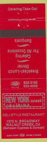 Matchbook Cover - New York West Walnut Creek CA