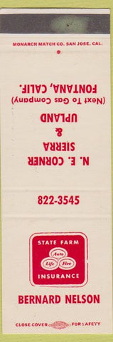 Matchbook Cover - State Farm Insurance Bernard Nelson Fontana CA SAMPLE