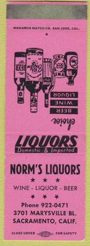 Matchbook Cover - Norm's Liquors Sacramento CA SAMPLE