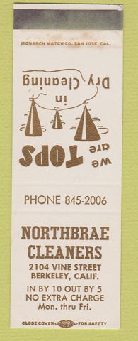 Matchbook Cover - Northbrae Cleaners Berkeley CA SAMPLE WEAR