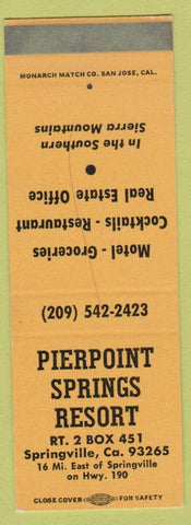 Matchbook Cover - Pierpoint Soprings Resort Springville CA SAMPLE