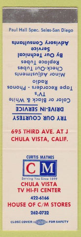 Matchbook Cover - Chula Vista TV Hi Fi Center CA SAMPLE