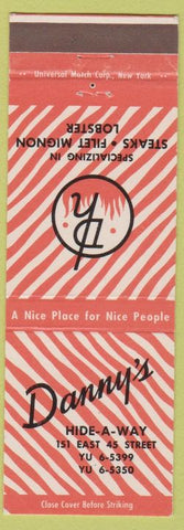 Matchbook Cover - Danny's Hide A Way New York City
