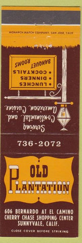 Matchbook Cover - Old Plantation Sunnyvale CA