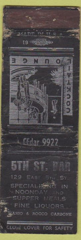 Matchbook Cover - 5th St Bar NO TOWN POOR