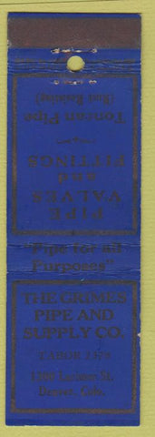 Matchbook Cover - Crimes Pipe and Supply Denver CO WEAR
