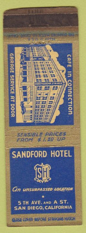 Matchbook Cover - Sandford Hotel San Diego CA WEAR