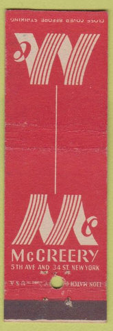 Matchbook Cover - McCreery New York City