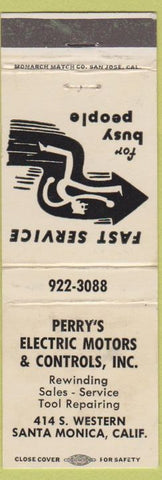 Matchbook Cover - Perry's Electric Motors Santa Monica CA WORN