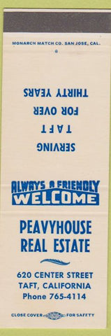 Matchbook Cover - Peavyhouse Real Estate Taft CA SAMPLE