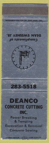 Matchbook Cover - Deanco Concrete Cutting SAMPLE WEAR