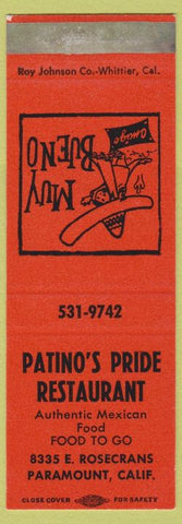 Matchbook Cover - Patino's Pride Mexican Food Paramount CA SAMPLE